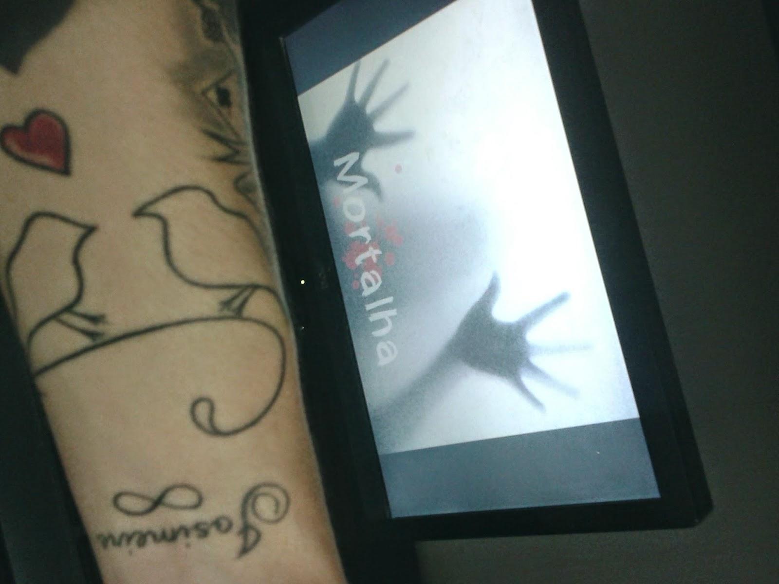 tatuagem, pássaros, nome, símbolo