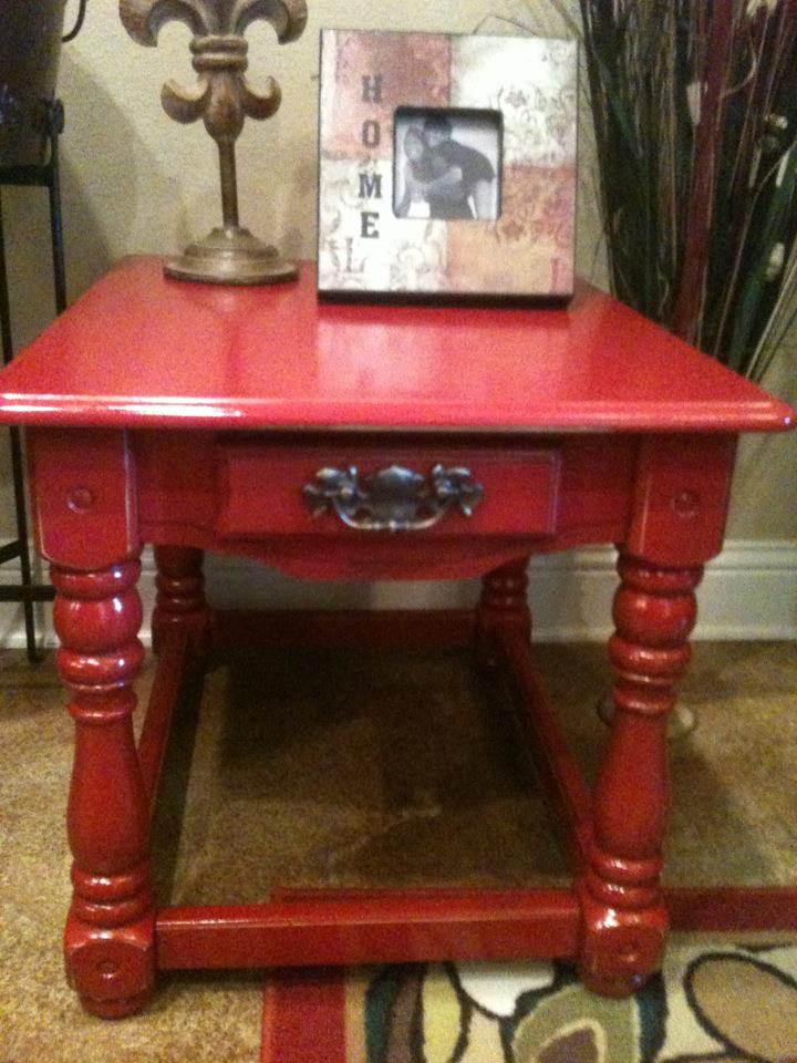 Distressed Colonial Red Side Table