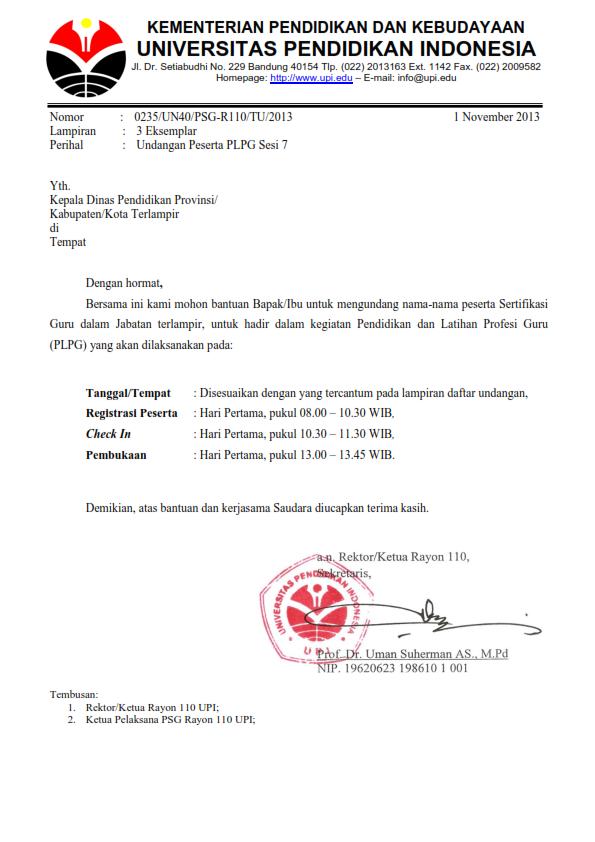 BIDANG PMPTK GARUT: Jadwal PLPG Sesi 7 Rayon 110 UPI Bandung