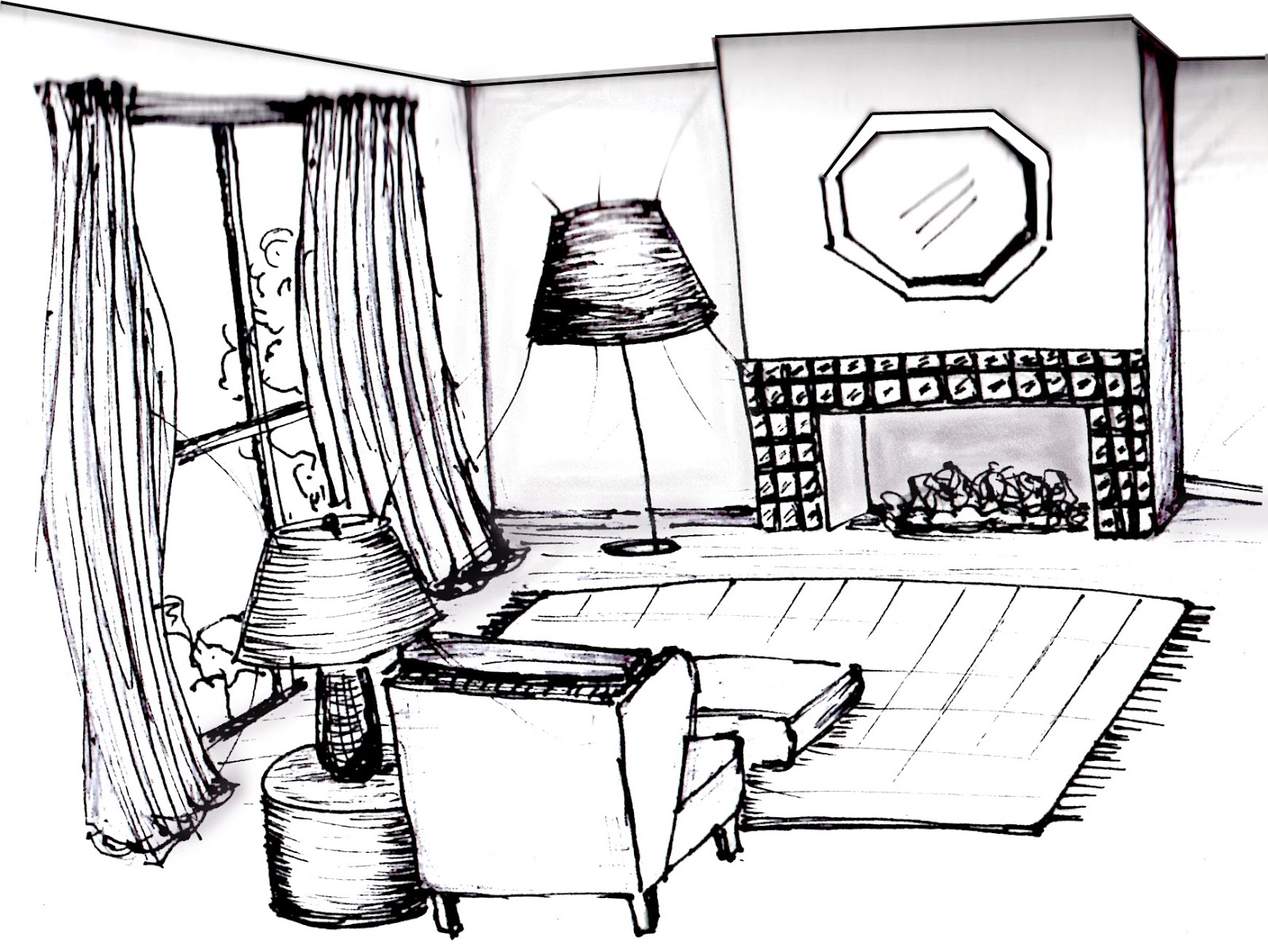 Interior architectural designs for Room design sketch