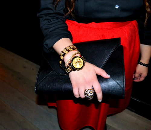 new-york-fashion-week-fall-2014, movado-bold-watch-collection, movado-bold-yellow-gold-watch, movado-bold-luxe-chorograph-gold, lucky-magazine-movado-bold-nyfw-event, original-long-sleeve-essential-shirt-express, high-waist-full-midi-skirt-express, engine-red-midi-skirt, merona-natasha-mid-heel-pump- target, bar-accent-envelope-clutch-express, rockstar-bracelet-in-onyx-and-pyrite-kluster, gold-curb-chain-status-link-necklace-express, pave-leopard-dome-ring-express