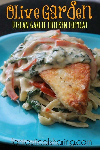 Olive Garden Tuscan Garlic Chicken Copycat | Make this amazing recipe at home - alfredo-like sauce with lightly breaded chicken! #recipe