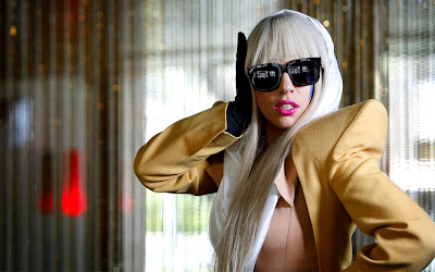 Lady Gaga Yellow Jacket and Sunglasses HD Desktop Wallpaper