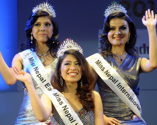 Miss Nepal 2013 winners Ishani Shrestha, Rosjisha Shahi Thakuri and Shritima Shah