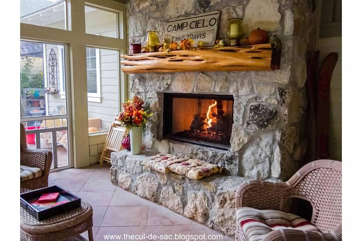The cul de sac cozy back porch for Back porch fireplace
