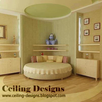 cool fall ceiling designs for bedrooms , with circular bed and