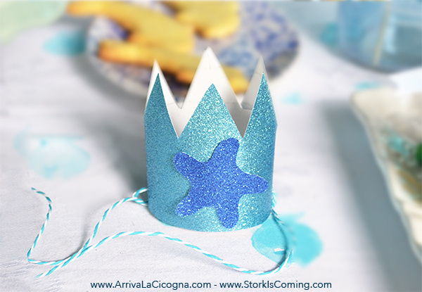 DIY glitter crown for under the sea birthday girl