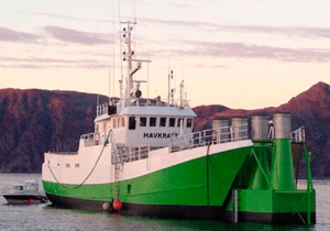 A former fishing vessel converted to a wave power plant. (Credit: Sintef) Click to Enlarge.