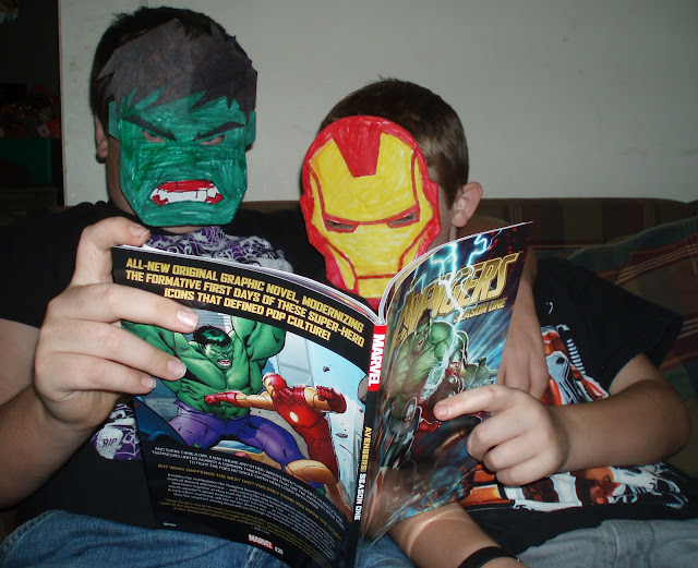 Hulk and Iron Man reading The Avengers Graphic Novel