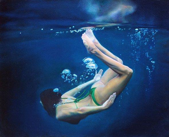 Matt Story pinturas foto-realistas mulheres nadando sob água