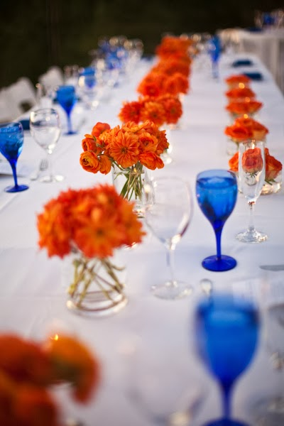 Memorable wedding a modern orange and blue