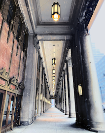 Lyric Opera corridor on a snowy day.