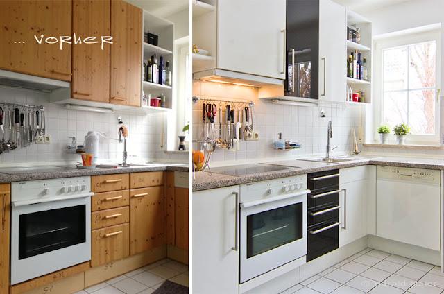 Küche vorher-nachher. Mit den neuen Hochglanz Küchenfronten ist diese Küche wie neu! Hell, freundlich, chic und sehr individuell präsentiert sich die renovierte Küche.