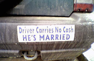 Driver carries no cash... he's married