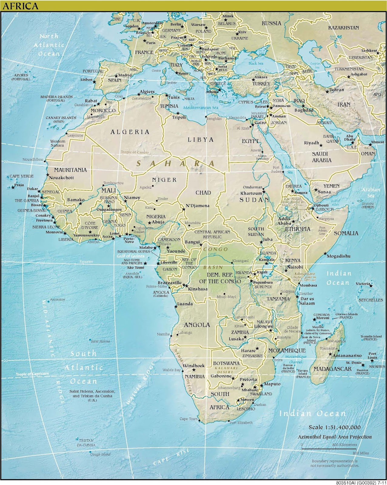 Online Maps Africa physical map