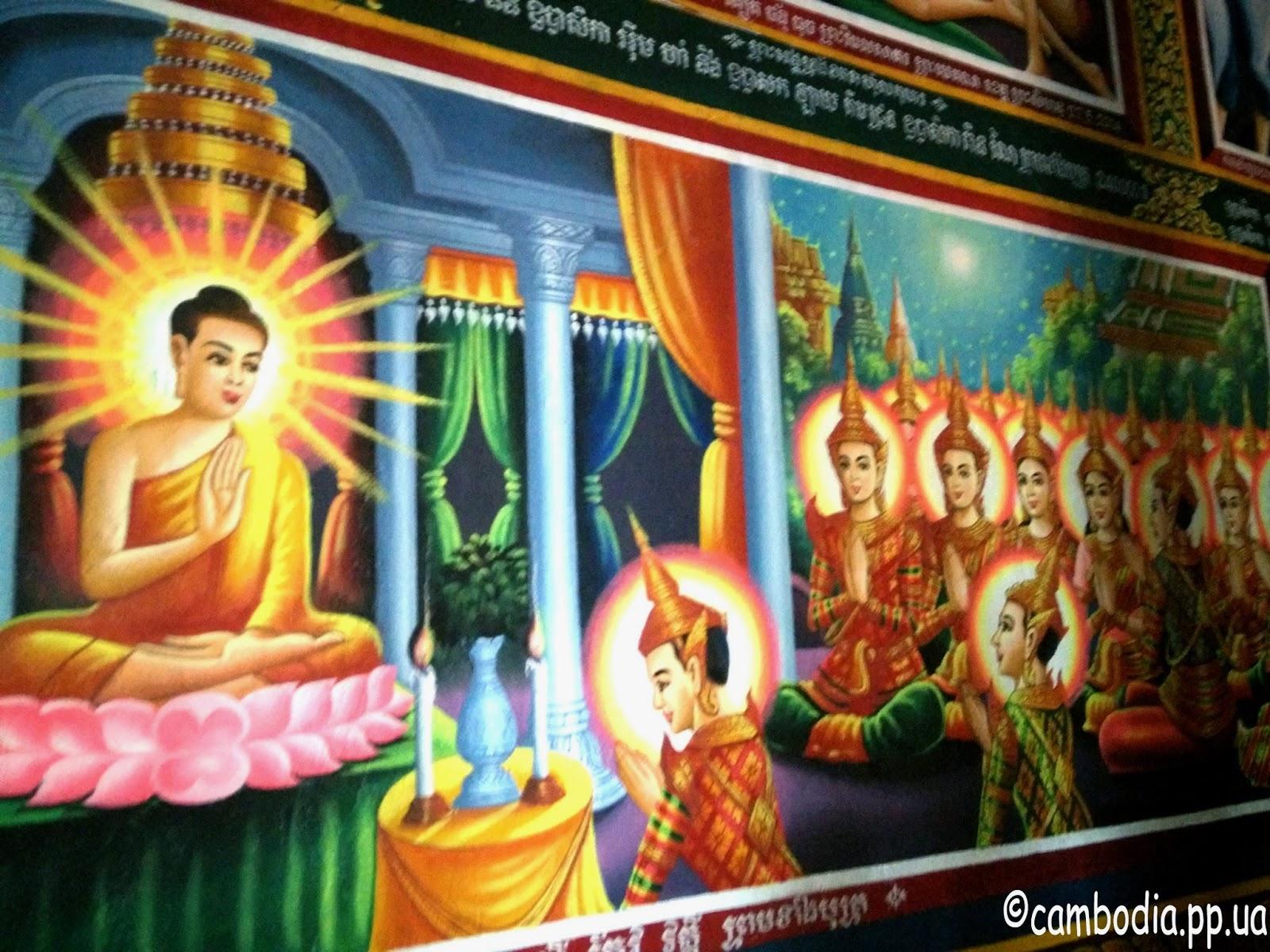 Картина на стене буддиского храма