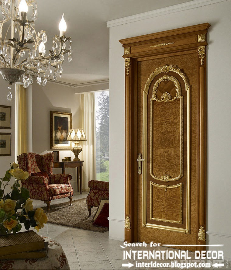 luxury interior doors for classic interior, Italian door with pronounced texture of wood