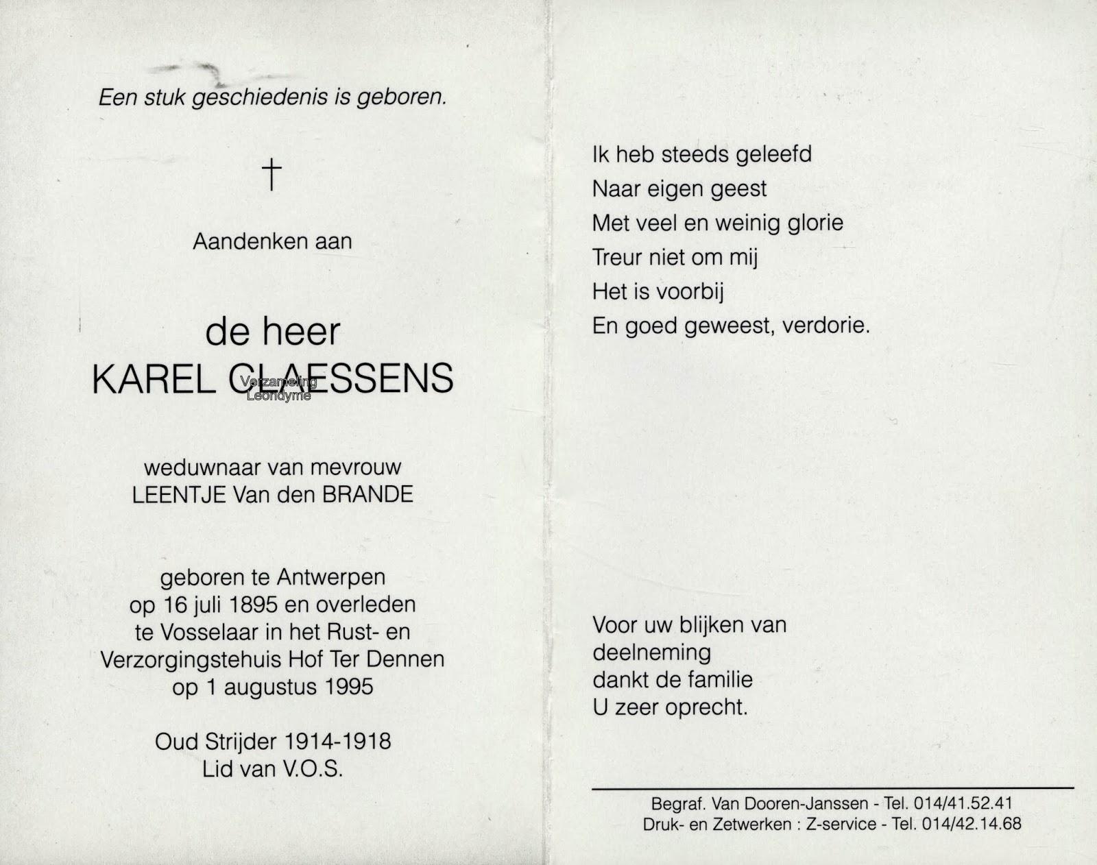 Bidprentje oud-strijder Karel Claessens 1895-1995. Verzameling Leondyme.