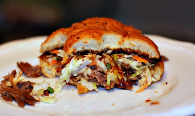 Shredded BBQ Beef Sandwiches Creamy Jalapeno Coleslaw
