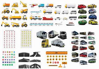 Carros,Placas de sinalizacao e Estradas vetorizados