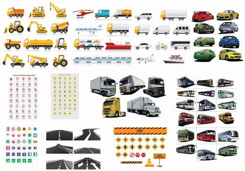 Carros,Placas de sinalização e Estradas vetorizados