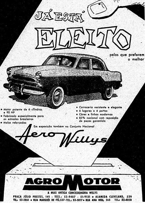 Propaganda do carro Aerowillys em 1960: o carro eleito.