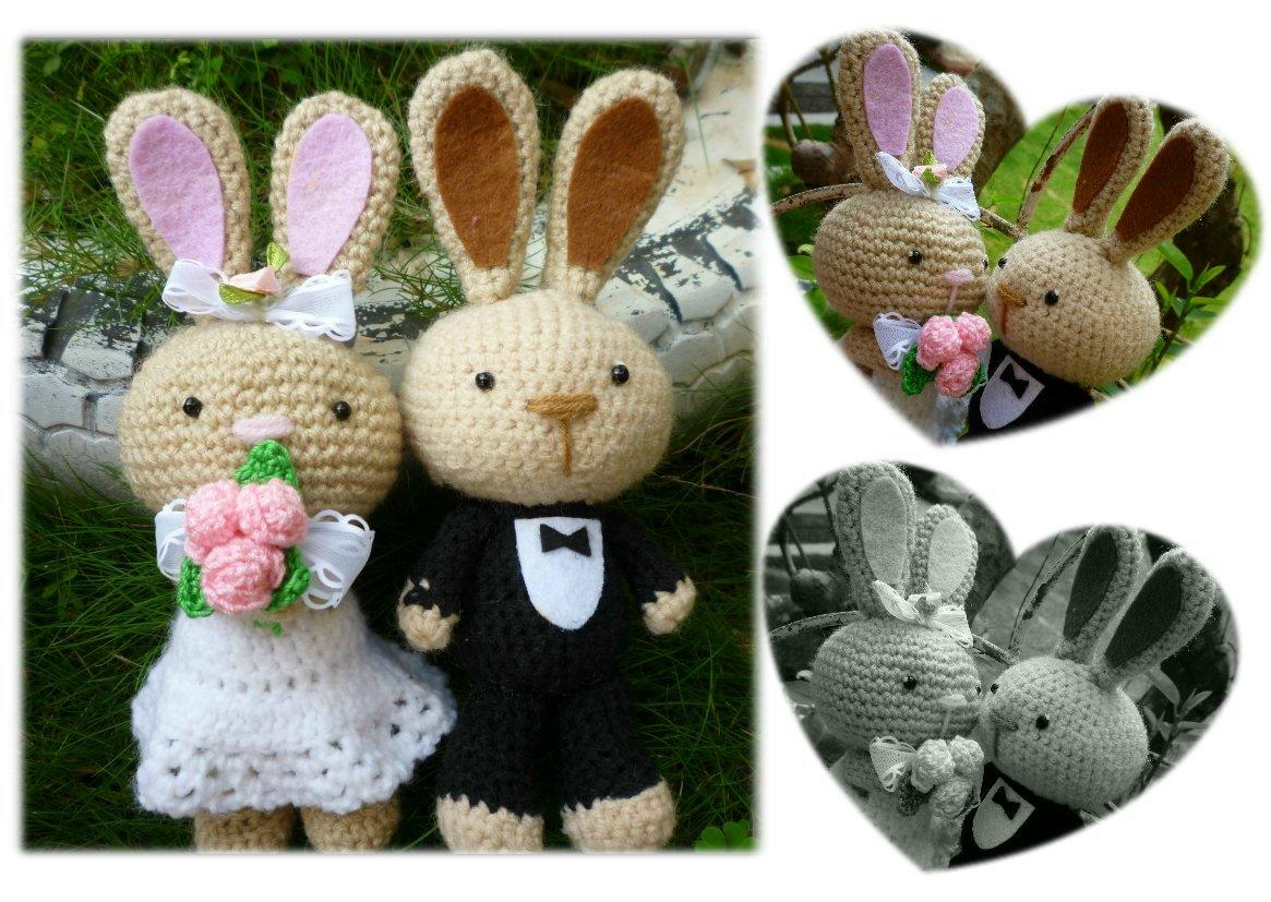 Wedding Bunny Amigurumi Crochet Doll Pattern Gift