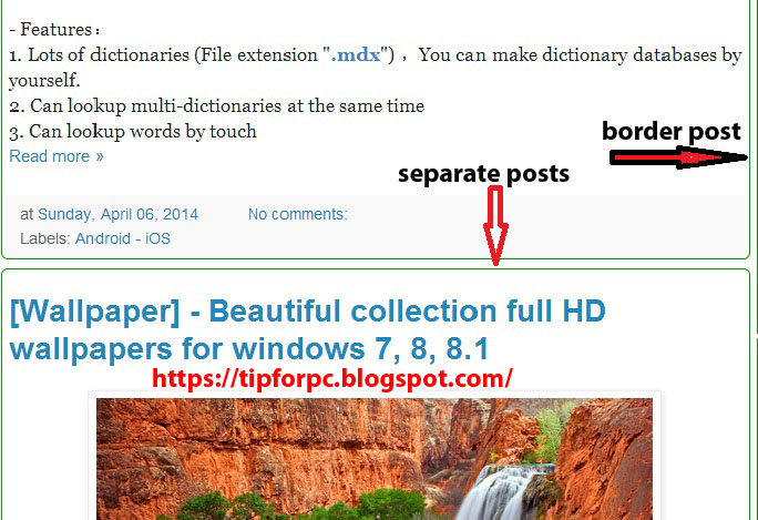 Add border around posts and separate posts in blogger 1