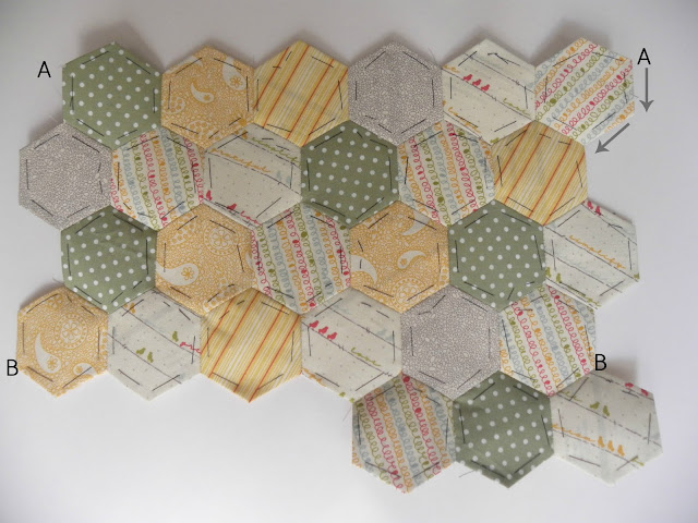 fabric patchwork hexies ready to stitch into iPad Case