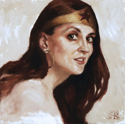 "Donna as Wonder Woman, oil on canvas 8""x8"" by Shannon Reynolds"