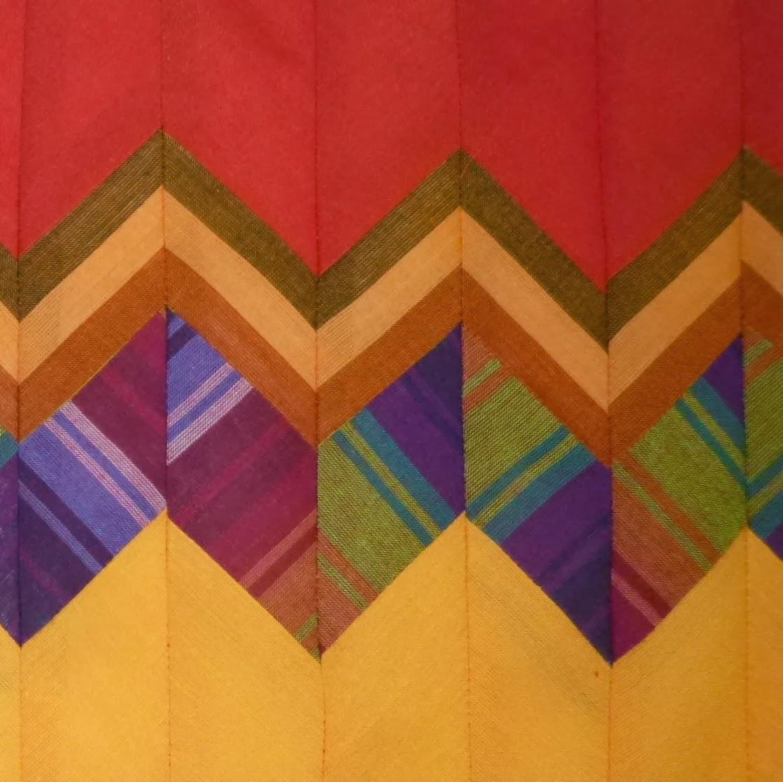 Close up of zig zag quilt border