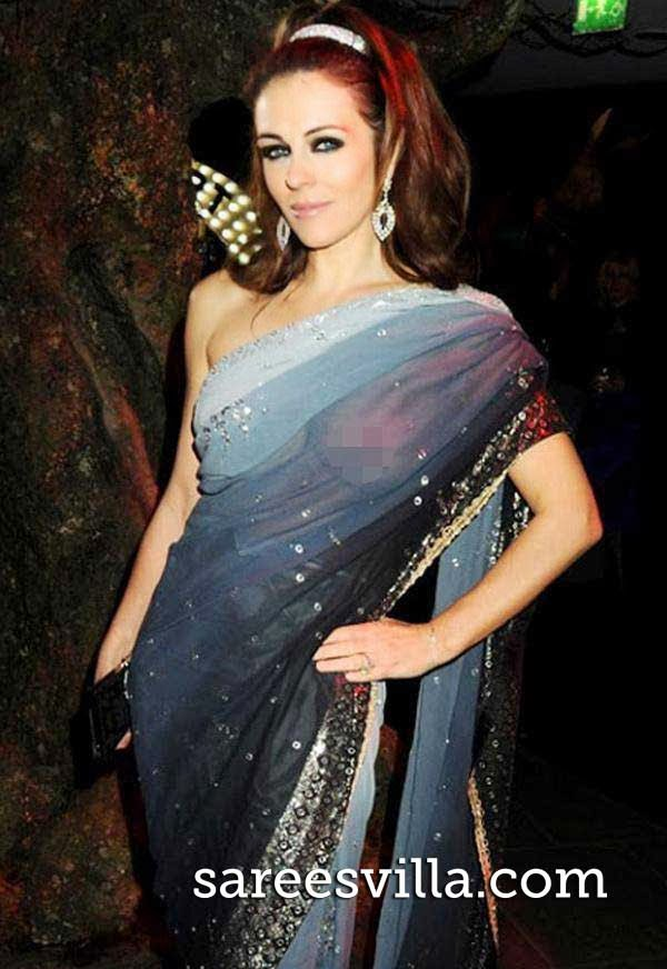 Liz Hurley in saree