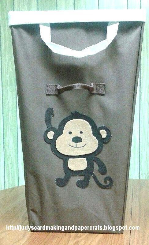 Judy 39 s handmade creations felt monkey and palm tree baby hamper project - Monkey laundry hamper ...