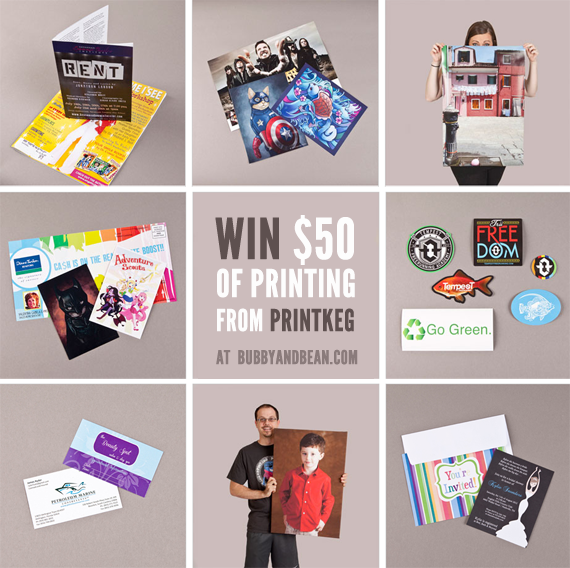 Win $  50 in Printing from PrintKEG and Bubby & Bean!
