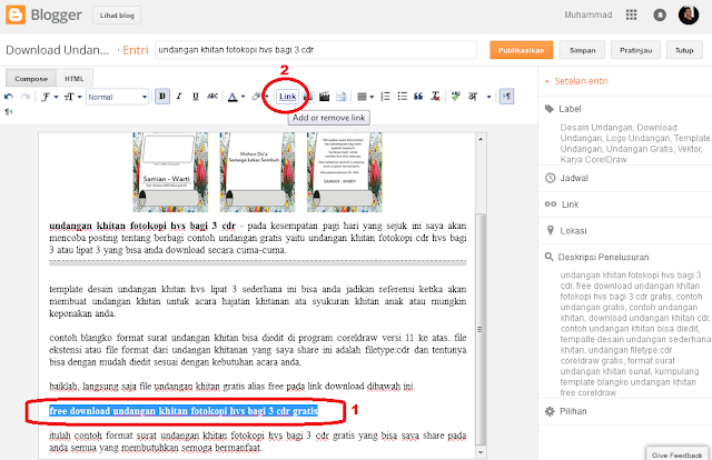 cara mudah memasukan file word, excel, powerpoint, pdf ke blog jadi link download