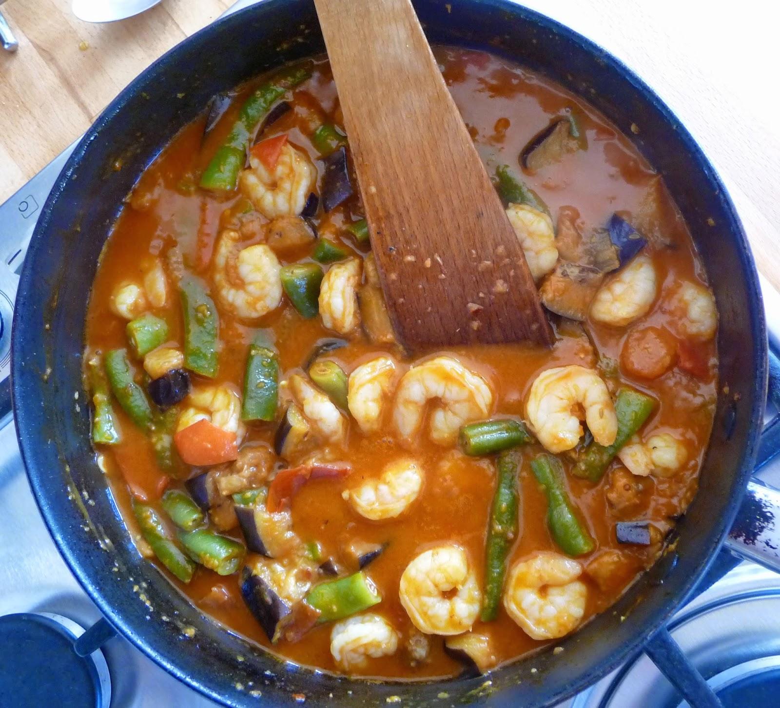 Prawn, aubergine and green bean curry