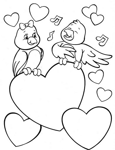 Valentine's Day Coloring Pages Birds