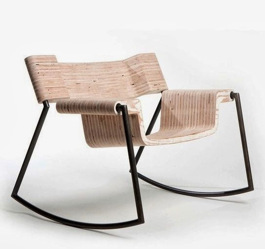 sugar rock chair made from gunmetal tubing and laminated wood