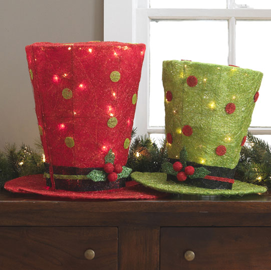lighted top hats - Top Hat Christmas Decorations
