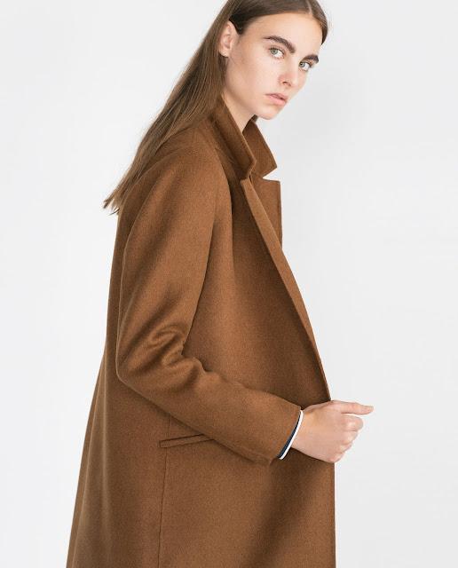 zara brown wool coat, toffee colour wool coat, zara handmade coat,