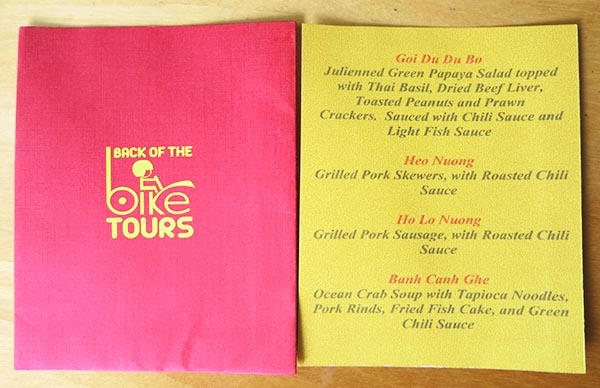 Back of the Bike Tour Menu