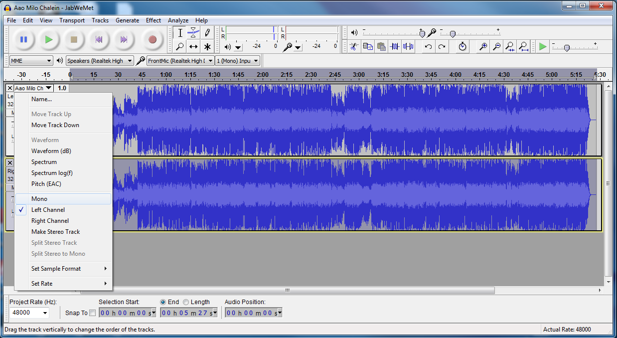 how to make a track mono in audacity
