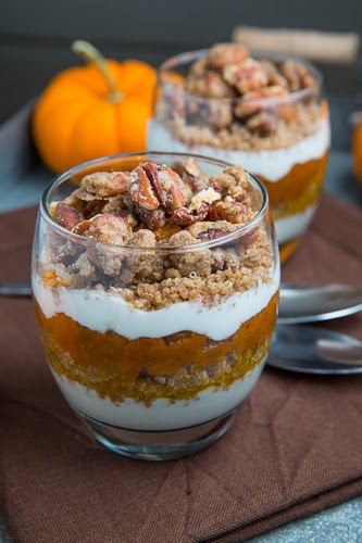Pumpkin Quinoa Parfait with Pecan Streusel