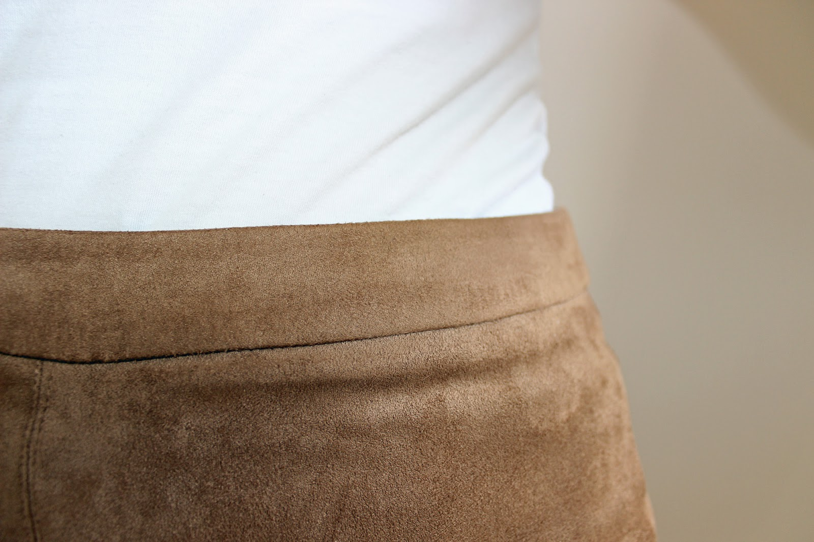 New Look tan suedette a-line skirt and white vest