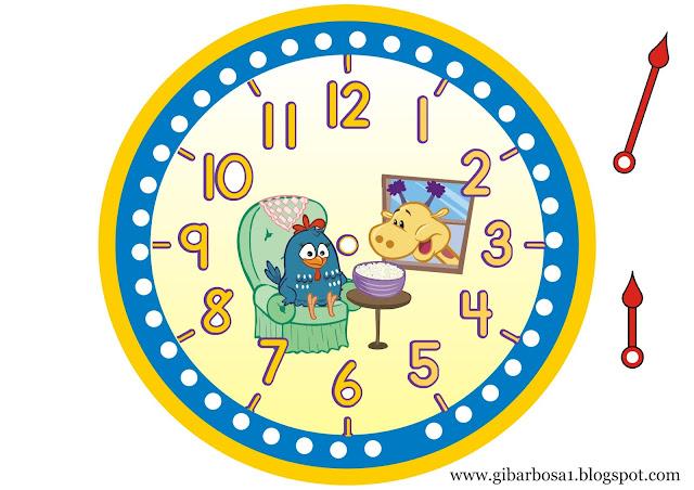 Relógios para Imprimir Galinha Pintadinha