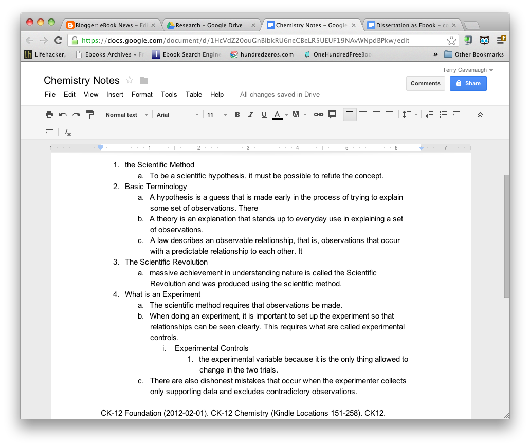 Here The Extracted Highlights From Ck12 Chemistry Etextbook Section On The  Scientific Method Have Been Put Into Outline Form Using A Word Processor