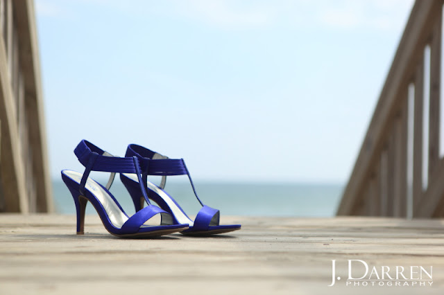 photo of the Wedding shoes on the beach.  Emerald Isle North Carolina Beach wedding