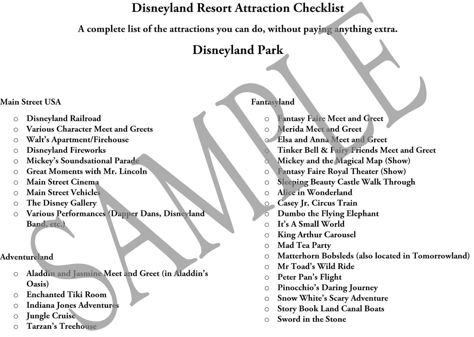 Get a checklist of every Disneyland Resort Attraction that is included with your admission from LoveOurDisney.com