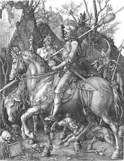 Gravura (gravura em metal) - A Morte, o Cavaleiro e o Diabo (Dürer)