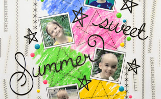 SRM Stickers Blog - Summer Sticker Stitches Layout by Christine - #layoiut #srmpress #stickers #stickerstitches #stitches